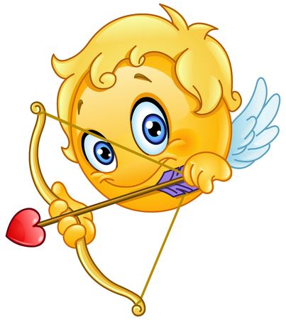 Cupid emoticon with bow and arrow Illustration