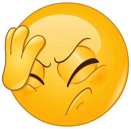 Emoticon Platzierung Hand auf Kopf. Gesichtsmaste Geste.