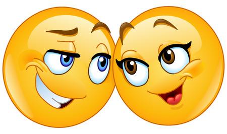 Loving emoticons couple  イラスト・ベクター素材
