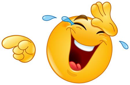 Emoticon rire et essuyant ses larmes tout en montrant quelque chose ou quelqu'un avec son autre main