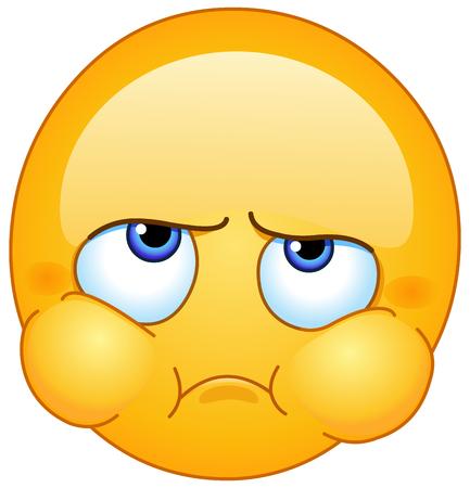 Teleurgesteld, nerveus, boos, boos, klagen, boos of zieke off emoticon met gepofte wangen