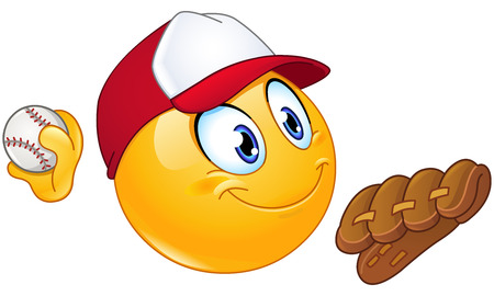 Baseball pitcher player emoticon with ball and glove Vectores