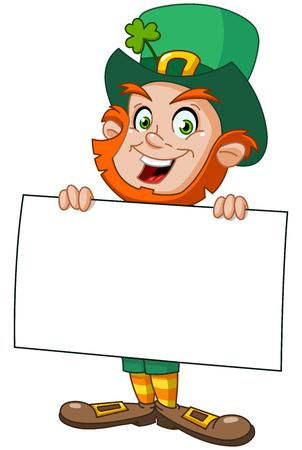 enano: Leprechaun que lleva un signo en blanco Vectores