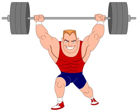 El levantador de pesas. Elevación del Bodybuilder barra. Ilustración de vector