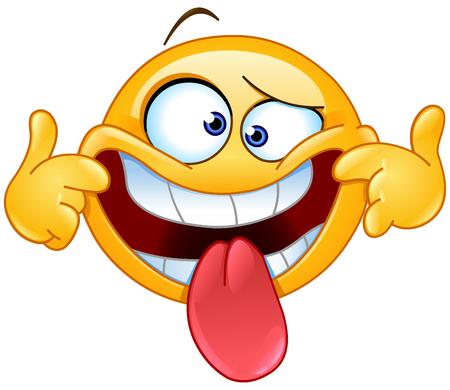 Emoticon making a funny face Illustration
