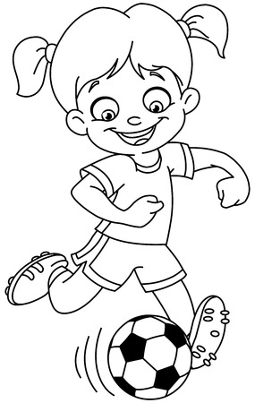 happy woman: Outlined young girl playing soccer. Vector line art illustration coloring page.