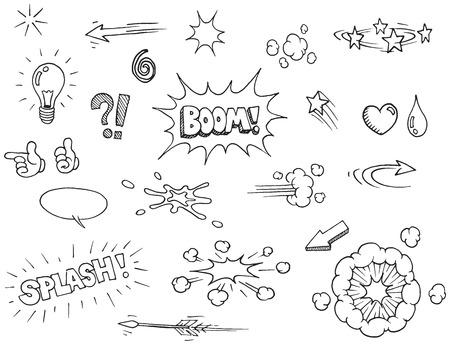 book: Vector hand drawn comic elements doodles Illustration