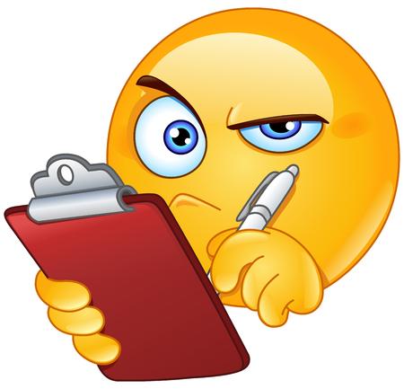 revisando documentos: Emoticon inspección con el portapapeles