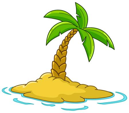Woestijn eiland met palmboom