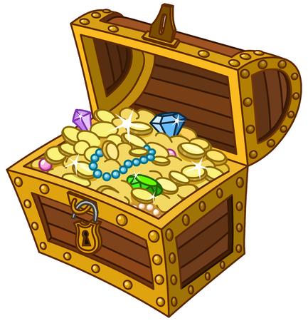 Otwarty drewniany skarb pełen złotych monet, klejnotów i biżuterii