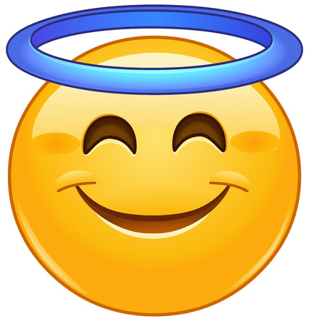 Smiling face with angel halo emoji emoticon Illusztráció