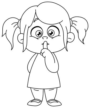 침묵 기호를 만드는 입술에 손가락으로 윤곽이 설정 된 어린 소녀. 벡터 라인 아트 그림 색칠 페이지입니다. 일러스트