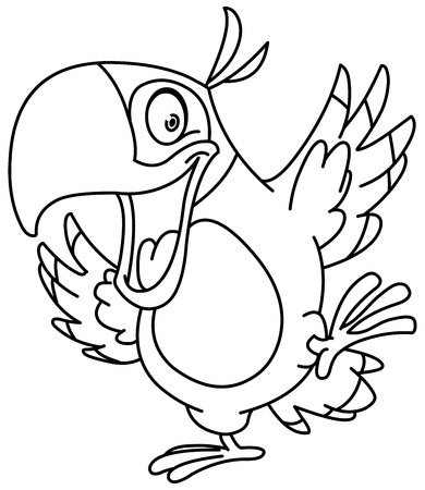 beak: Outlined happy parrot dancing. Vector line art illustration coloring page.
