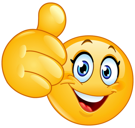 Female emoticon showing thumb up Stock Illustratie