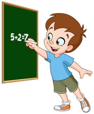 lesson: School boy writing with chalk on a blackboard