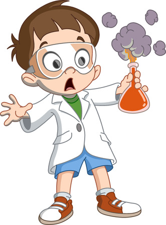 Scientist kid holding an exploding test tube Vettoriali