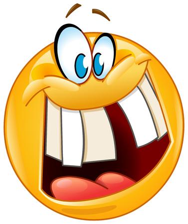 Emoticon with crazy smile revealing a gap tooth Vektorové ilustrace