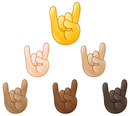 music 3d: Sign of the horns rock on hand emoji set of various skin tones