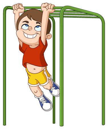 school class: Happy boy climbing on monkey bars Illustration
