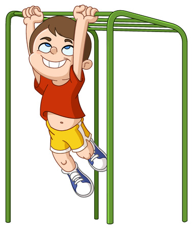 Happy boy climbing on monkey bars Illustration