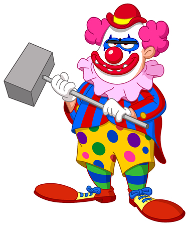 Evil scary clown holding a hammer