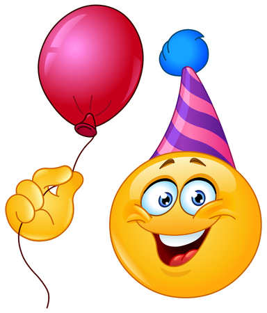 happy people: Birthday emoticon with party hat holding a balloon