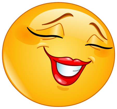 happy people: Female emoticon smiling shyly with closed eyes Illustration