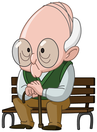 Old man with a cane sitting on a wooden bench Illustration