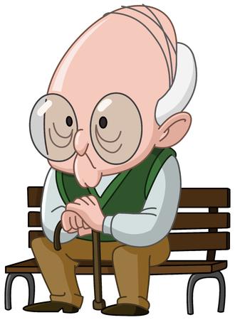 Alter Mann mit einem Stock, der auf einer Holzbank sitzt Vektorgrafik