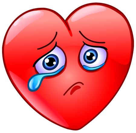Verdrietig en huilend hart emoticon pictogram ontwerp