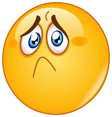 Schmerz und trauriger Emoticon auf getrenntem Hintergrund Standard-Bild - 90011723