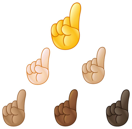 Index pointing up hand emoji set of various skin tones Иллюстрация