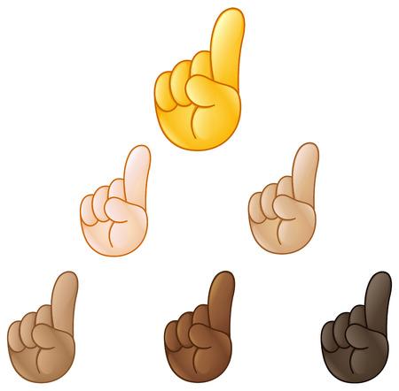 Index pointing up hand emoji set of various skin tones Stock Illustratie
