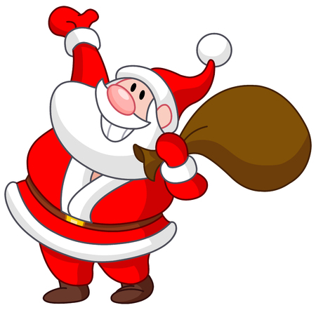 Happy Santa Claus carrying a gift sack and raising his arm