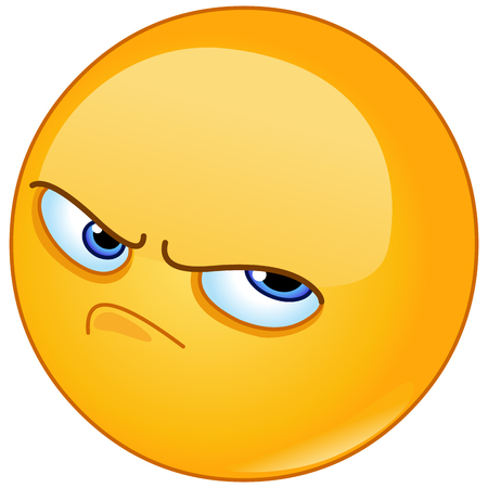 Pissed off angry emoticon Stock Illustratie