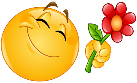 Happy emoticon giving a flower vector illustration.