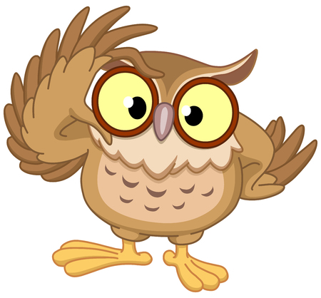 Owl touching his glasses Vectores