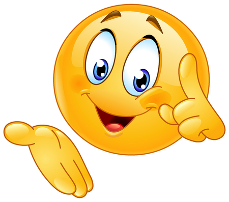 Happy emoticon pointing finger up and presenting Illustration