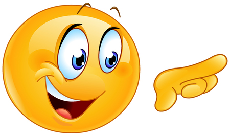 Happy emoticon pointing with his finger and looking right Illustration