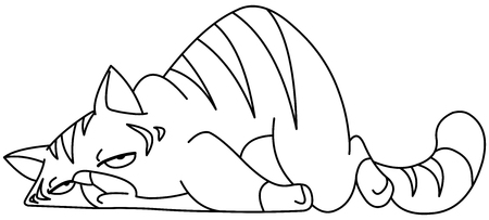Outlined tired cat lying on front. Vector line art illustration coloring page. Illustration