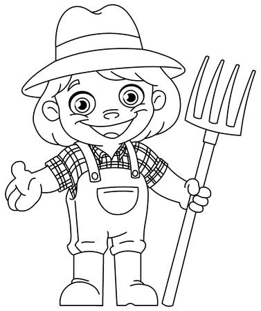 Outlined happy young girl farmer holding a pitchfork. Vector line art illustration coloring page. Ilustração Vetorial