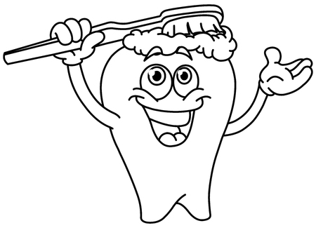 Outlined cartoon tooth brushing itself. Vector line art illustration coloring page.