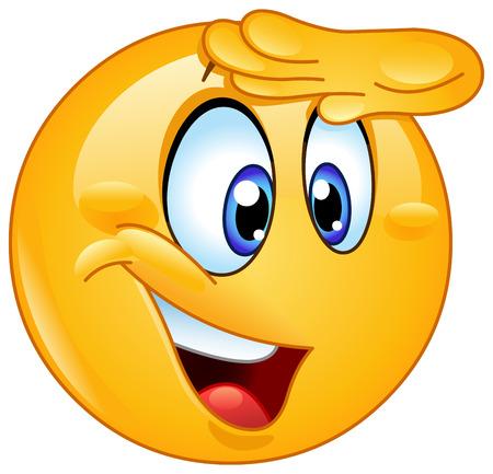 Blije emoticon die wegkijkt met hand op voorhoofd