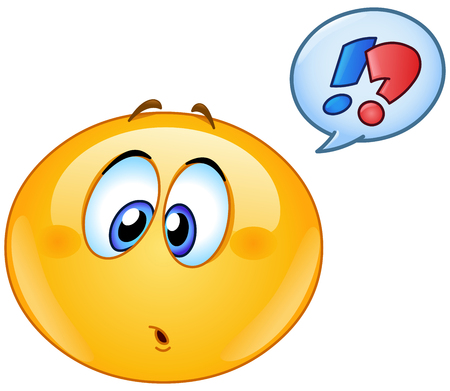 Confused emoticon with question and exclamation marks in speech bubble