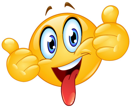 Emoticon showing thumbs out and sticking out a tongue