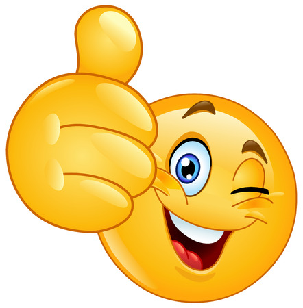 Emoticon winking and showing thumb up