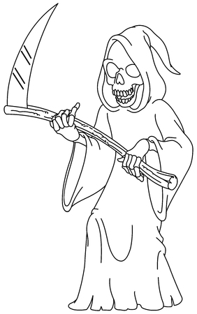 Outlined laughing grim reaper holding a scythe. Vector line art illustration coloring page.