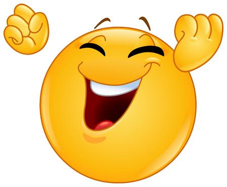Emoticon feliz emocionado levantando sus puños apretados haciendo un gesto ganador o de celebración