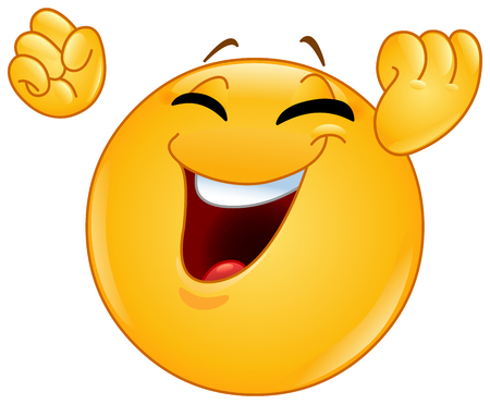 Excited happy emoticon raising his clenches fists making a winning or celebrating gesture Ilustração