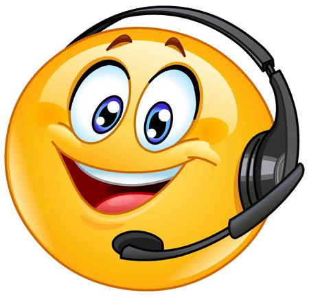 Kundensupport-Emoticon mit Headset Vektorgrafik